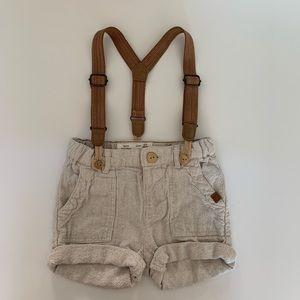 Zara BabyBoy linen shorts with suspenders